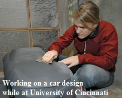 Taryn working on a Car design  while at University